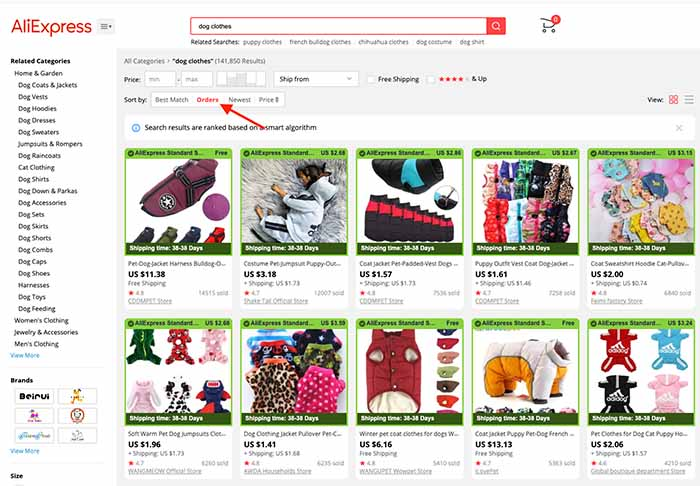 How to Find the Best Suppliers on AliExpress - Search Results